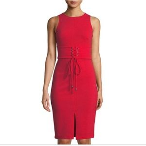 Bebe Women's Red Corset-waist Midi Cocktail Sheath